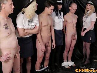 cfnm european femdom handjob mistress uniform