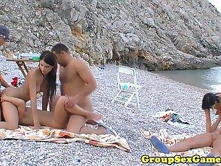 Strand Bikini europäische Gruppensex Orgie Outdoor