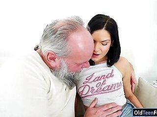 blowjob brunette european grandpa kissing licking