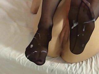 blowjob cumshot fetish foot stockings