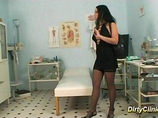 brunette cute doctor nurse
