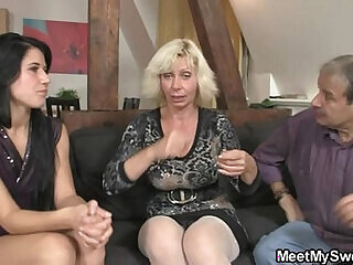 family girlfriend girls son threesome