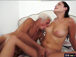 blowjob brunette european grandpa handjob kissing